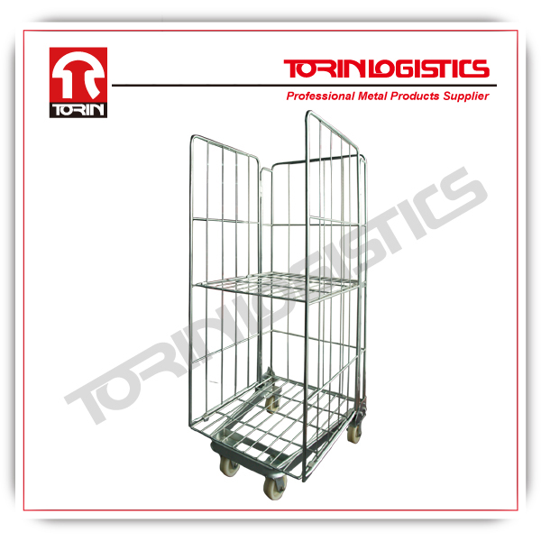 folding metal wire mesh cargo roll box pallets (L715*W840 mm/OEM)