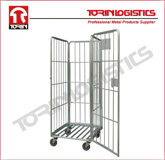 Foldable galvanized plating warehouse logistic roll cages (L800 *W712 mm /OEM)